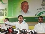 RJD leader Tejashwi Yadav's press conference in Patna