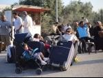Palestinians waiting to enter Egypt through Rafah border