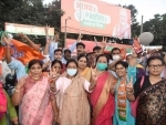 NDA workers celebrate party victory in Bihar Assembly elections in Patna
