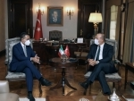 Turkish Foreign Minister Mevlut Cavusoglu (R) meets Luigi Di Maio
