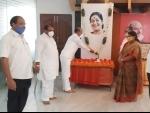 Telangana BJP President Bandi Sanjay Kumar pays tribute to Sushma Swara