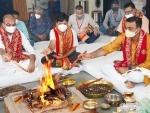 CEO Shri Mata Vaishno Devi Shrine Board Ramesh Kumar with other officials taking part in havana