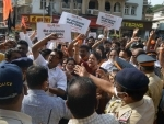 Shiv Sena workers holds protest against fuel prices hike in Mumbai on Thursday