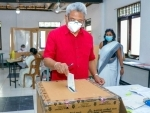 Sri Lankan President, Gotabaya Rajapaksa casts his vote