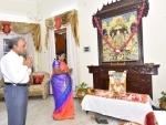 Telangana Governor Dr Tamilisai Soundararajan performing pooja to lord Shri Ram
