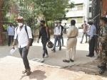 NDA examination: Candidates maintain social distancing