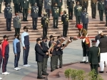 Soldiers carrying victory flames, lit-up by PM Modi, marking the beginning of Golden Jubilee of India's victory over Pakistan in Indo-Pak War