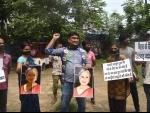 LJP activist protest against Samajwadi Party MP Jaya Bachchan in Patna