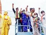 BJP SC Morcha activists garland statue of Dr B R Ambedkar