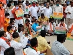 BJP activists protesting against expensive Covid treatment in pvt hosps in Hyderabad