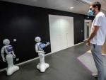 Pepper robots are seen at SoftBank Robotics in Paris