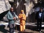 UP Chief Minister Yogi Adityanath today visited Badrinath shrine and Mana village.
