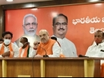 Amit Shah addresses press conference in Hyderabad