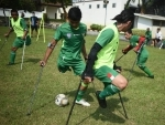 Players of Indonesia Amputee Football (INAF) attend training session in Jakarta