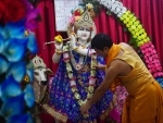 Janmasthami: A priest arranging the dress and ornaments of Lord Krishna