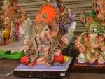 Idols of Lord Ganesha displayed for sale ahead of Ganesh Chaturthi in Hyderabad