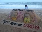 Sudarsan Pattnaik's sand sculpture on COVID in Puri