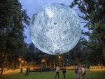 A view of art installation 'The White Night' by Luke Jerram in Riga, Latvia