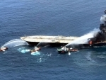 Indian Coast Guard, Sri Lankan Navy and Tug boats attempt to douse fire at MT NewDiamond oil tanker off the east coast of Sri Lanka