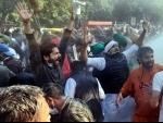 Youth Congress leaders agitating against farm laws near Haryana CM's residence