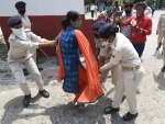 Police arresting contract based Revised Auxiliary Nursing Midwifery in Patna