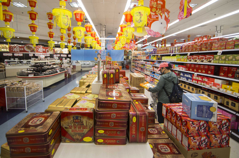 Toronto: A customer wearing a face mask visits a Chinese supermarket