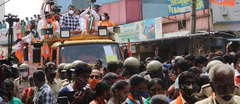 BJP holds roadshow for By-election in Bengaluru