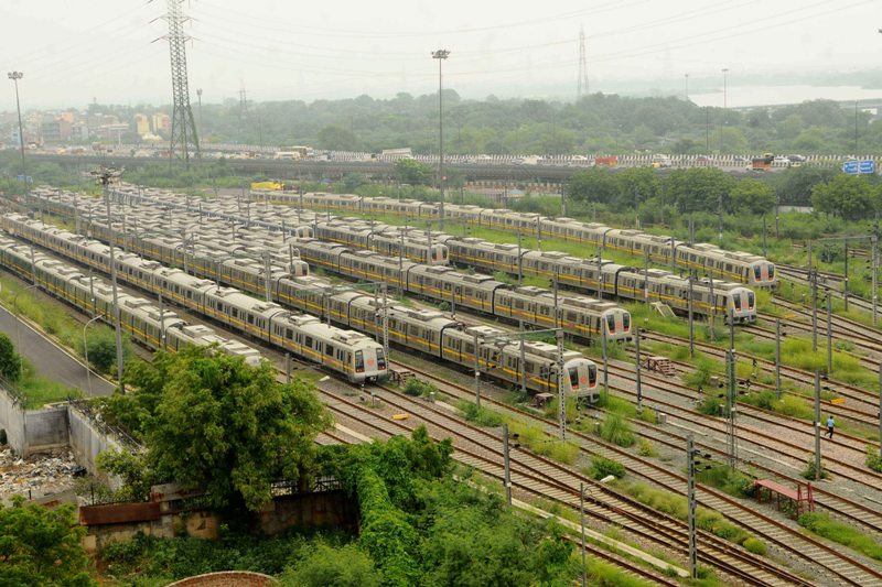 Delhi metro trains parked at yard owing to Covid-19