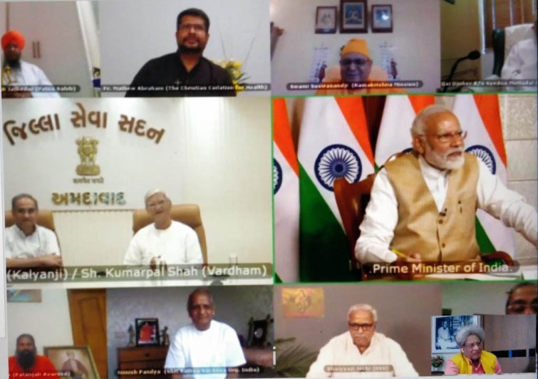 PM Modi talks to Gaytri Parivar Chief Pranav Pandya via vedio conferencing