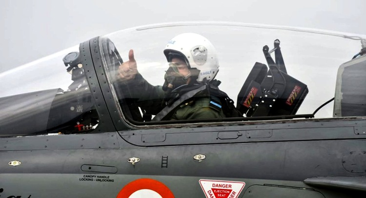 Air Chief Marshal R K S Bhadauria onboard Tejas fighter aircraft near Coimbatore