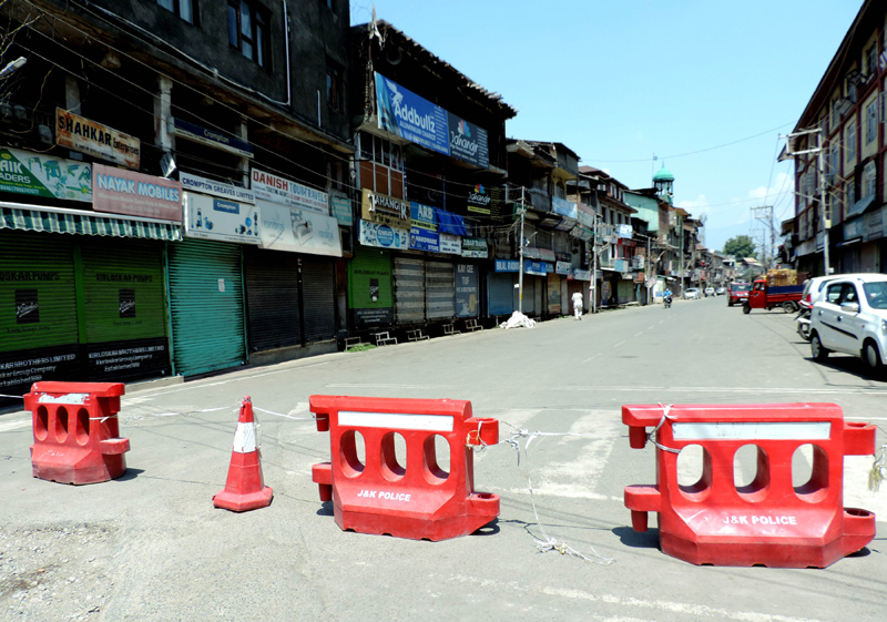 A deserted view of Budshah Chowk in Srinagar amid lockdown