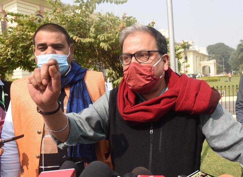 RJD MP Manoj Jha interacts with media
