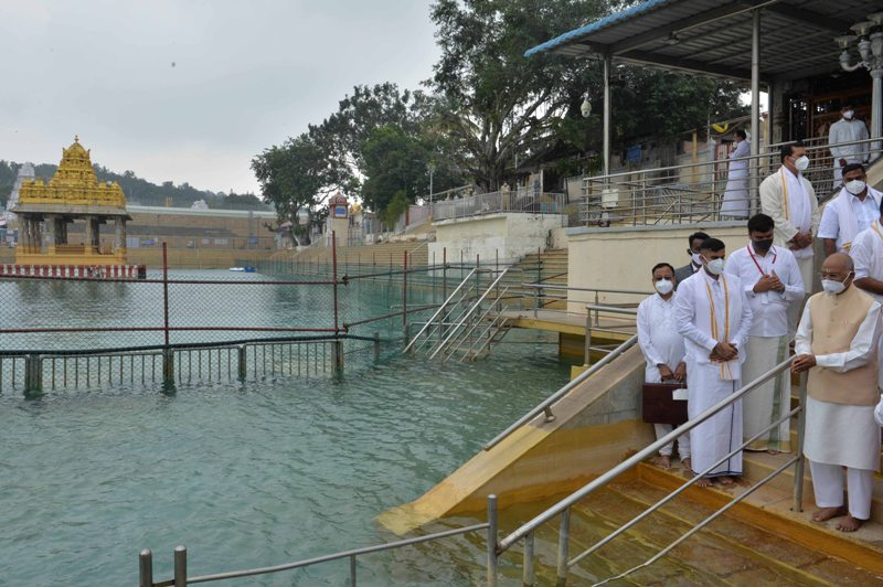 President Ram Nath Kovind prays at Sri Venkateswara Swamy Temple