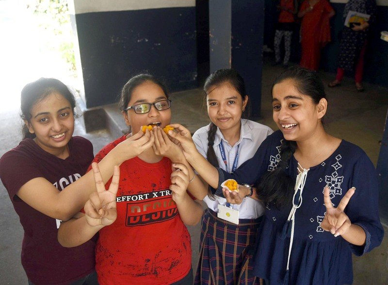 Students celebrate CBSE results