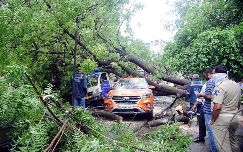Rain causes destruction in Ahmedabad