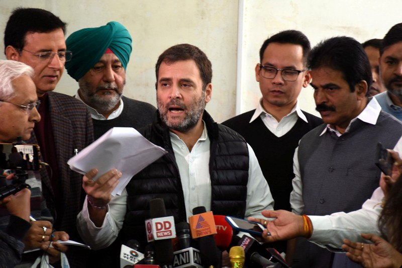 Rahul Gandhi addresses reporters in Parliament House
