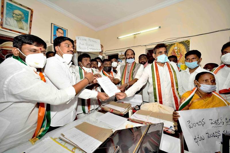 Telangana Pradesh Congress Committee members participate in Dharna