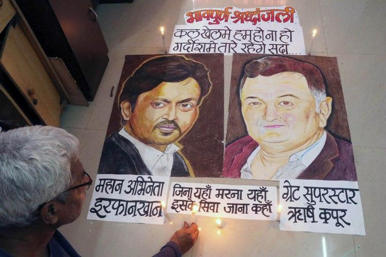 A rangoli for Irrfan Khan and Rishi Kapoor