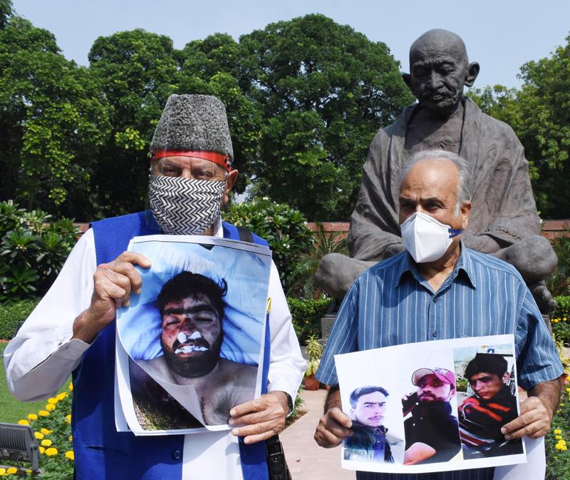 Farooq Abdullah, Hasnain Masoodi protest during Parliament's monsoon session