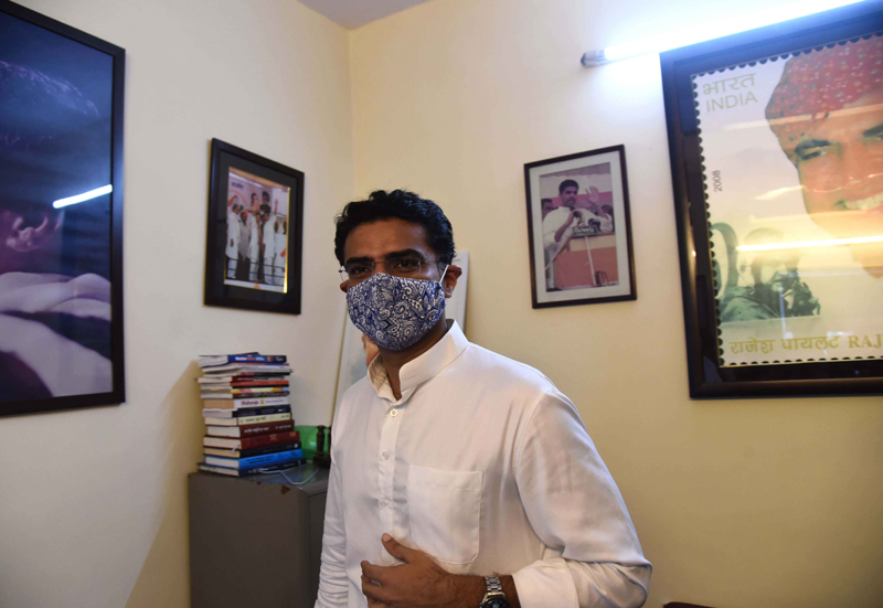 Sachin Pilot interacts with media at his Delhi residence