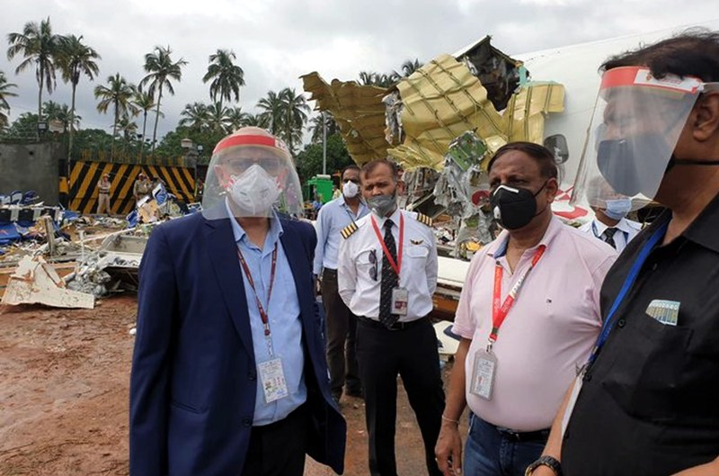 Senior Air India officials inspecting Air India Express accident site at Kozhikode