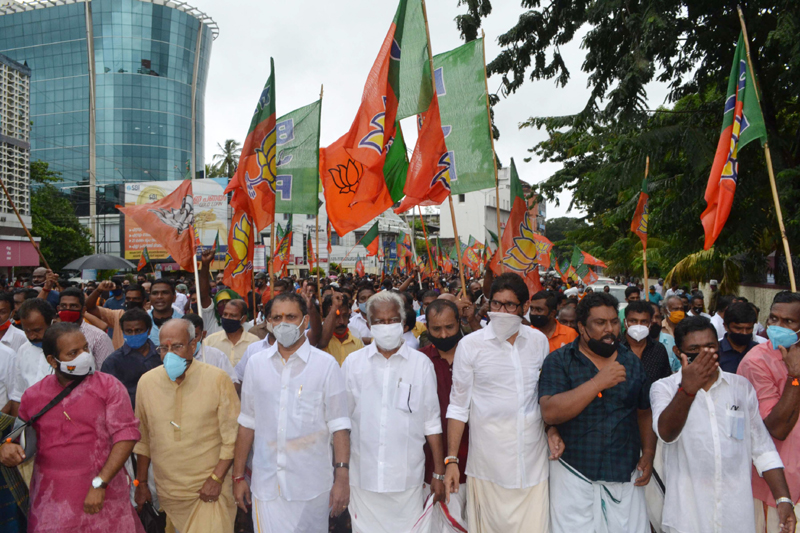 BJP leaders and workers staging march to Kerala Secretariat