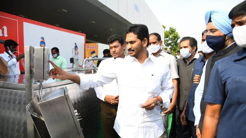 Andhra Pradesh CM Y S Jagan Mohan Reddy inspects Amul Dairy Cooling plant model state Secretariat in Amaravathi