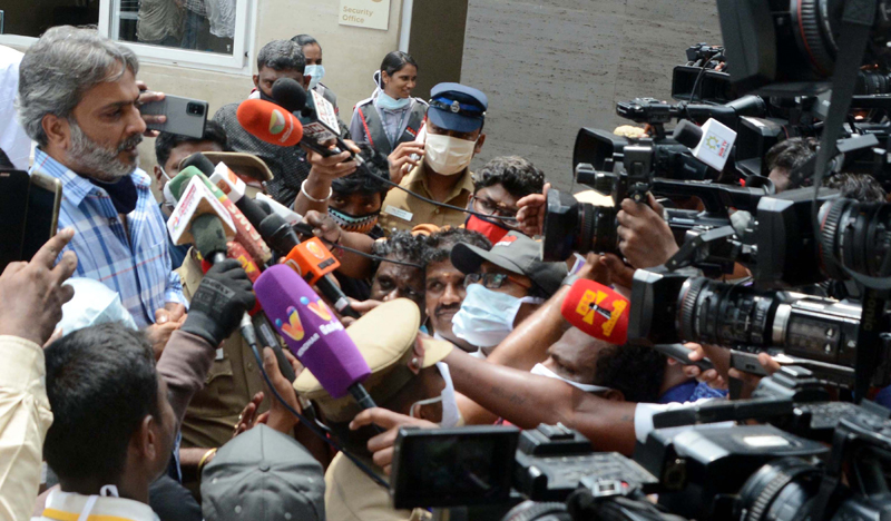 SPB Charan present outside hospital where his father S P Balasubrahmanyam died