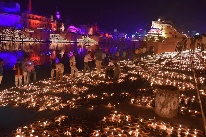 Ayodhya night on the eve of Ram Temple ground breaking ceremony
