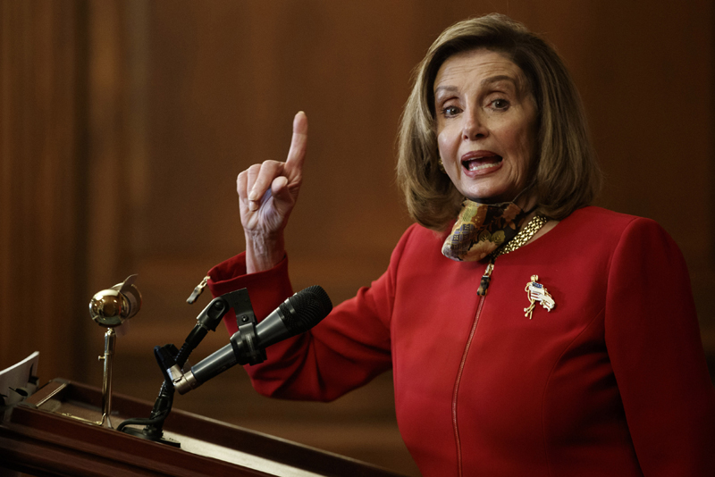 U.S. House Speaker Nancy Pelosi speaking to press after U.S. House condemned anti-Asian sentiment linked to COVID-19