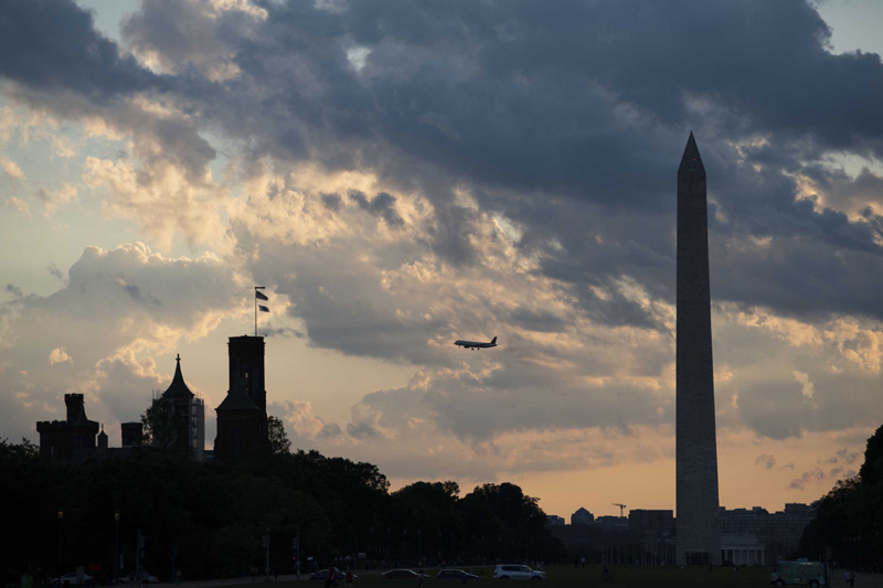 US: A plane flies over the National Mall