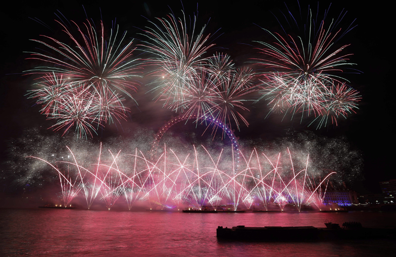 Fireworks explosion over London Eye on New Year's Eve in 2019