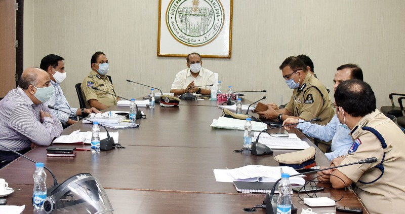 Telangana Chief Secretary holds meeting to review progress of a construction work