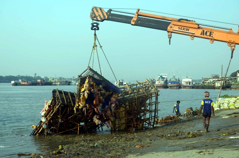 Cleansing drive of Ganges after Durga idol immersion